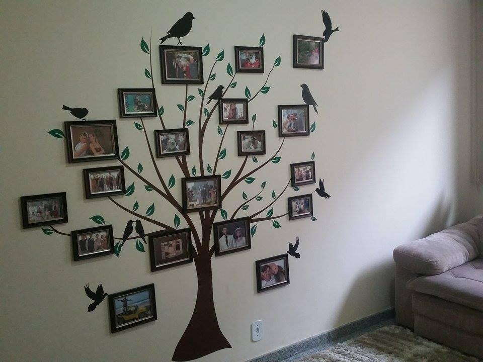 Adesivo papel parede arvore genealogica com passaros - Como hacer un cuadro con fotos familiares ...