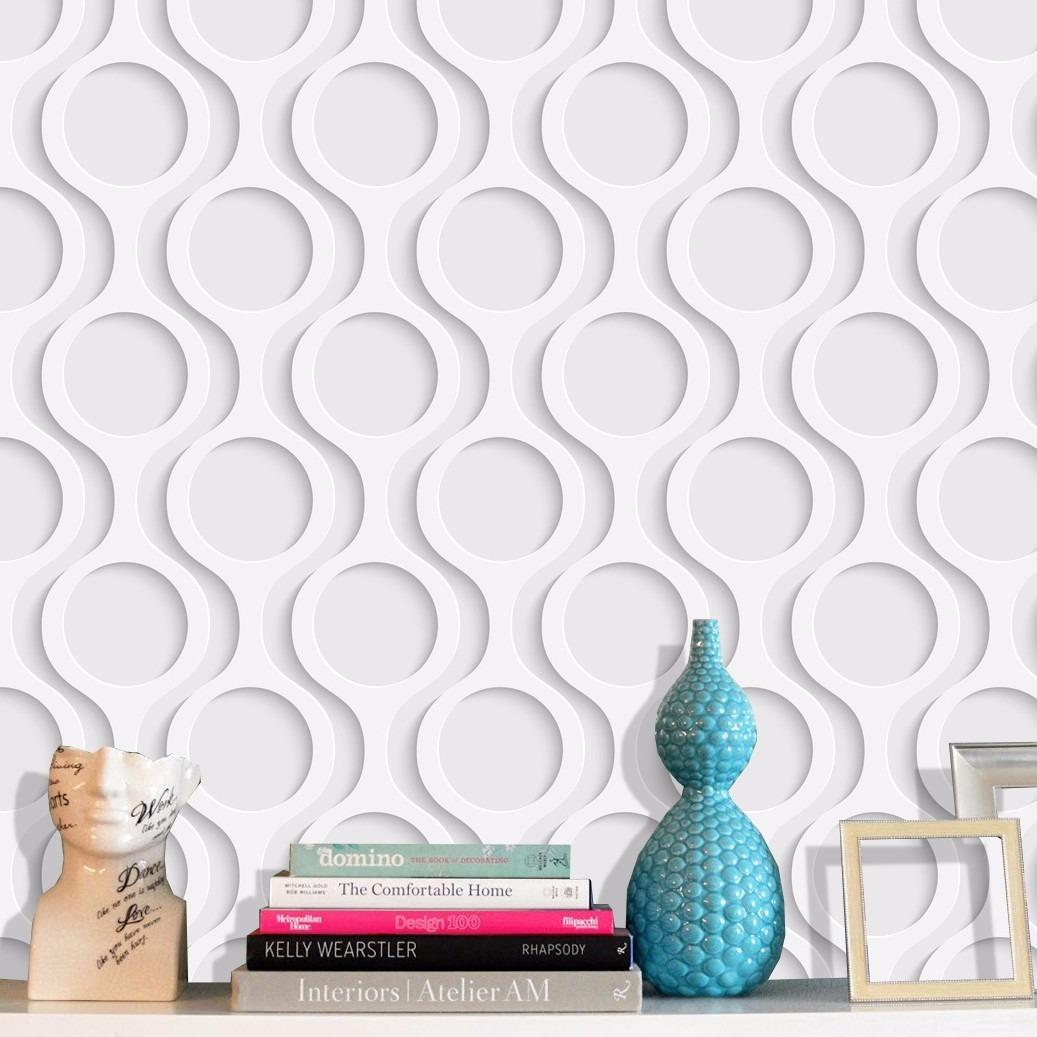 Adesivo papel parede c rculos efeito 3d r 44 90 em for Papel para paredes salon