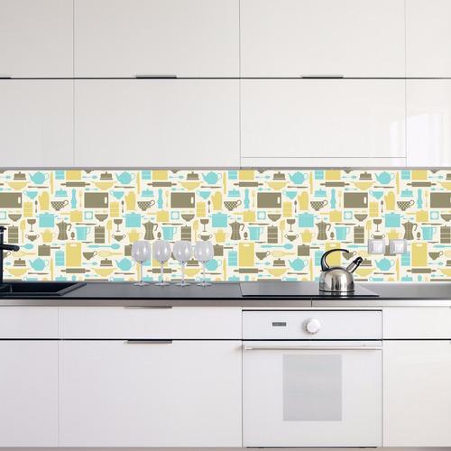 adesivo papel parede cozinha utensílios cz-32 - 3 unidades