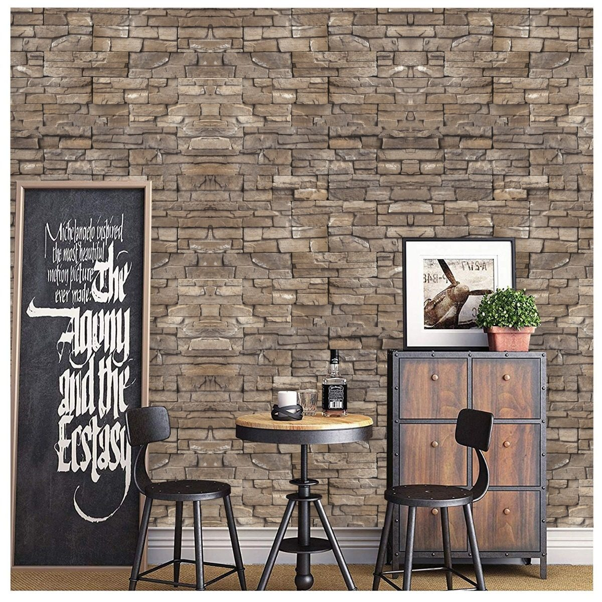 519d15f9e adesivo papel parede decorativo revestimento pedras tijolo. Carregando zoom.