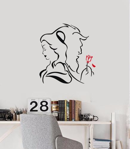 adesivo papel parede desenho disney bela e fera princesa