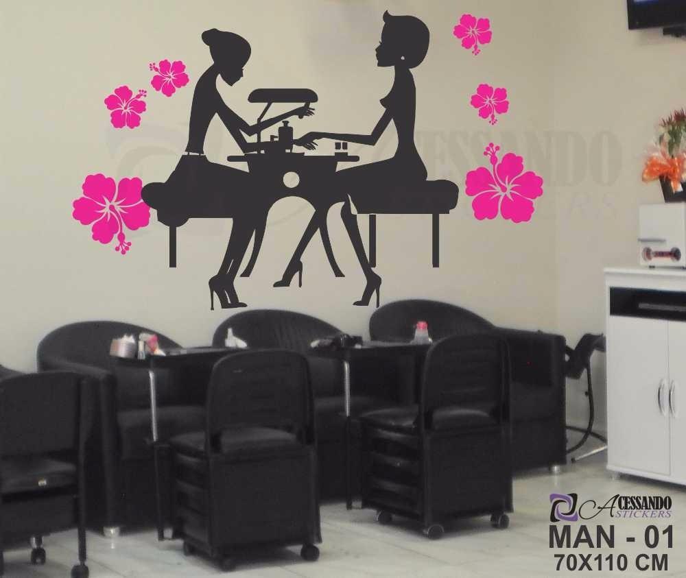 Adesivo papel parede manicure cabeleireiro exclusivo barato r 79 97 em mercado livre - Papel para paredes baratos ...
