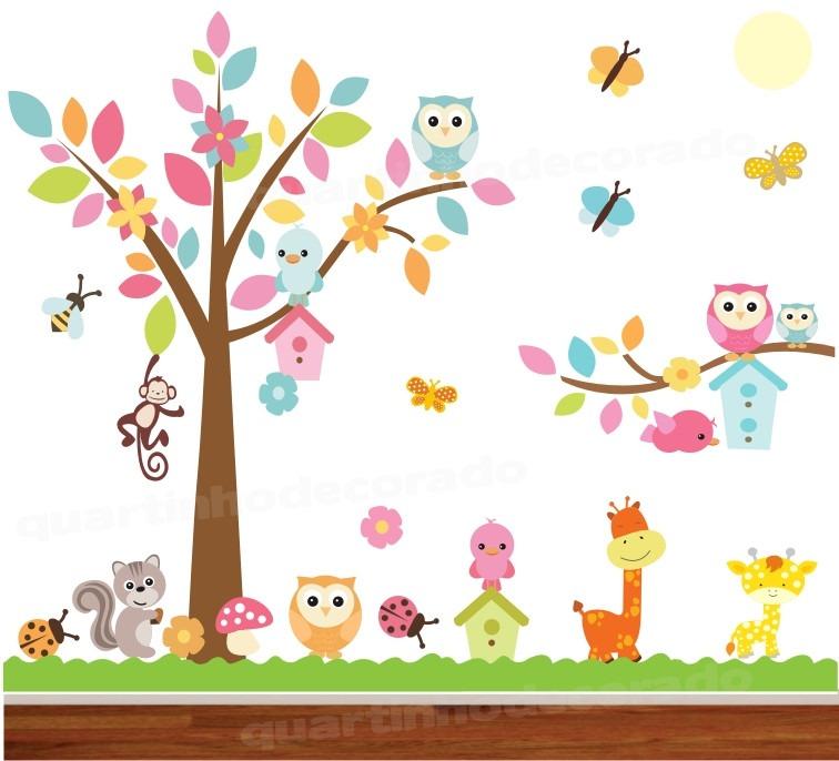 Adesivo Para Furo De Orelha ~ Adesivo Papel Parede Quarto Infantil Coruja Zoo Safari 2