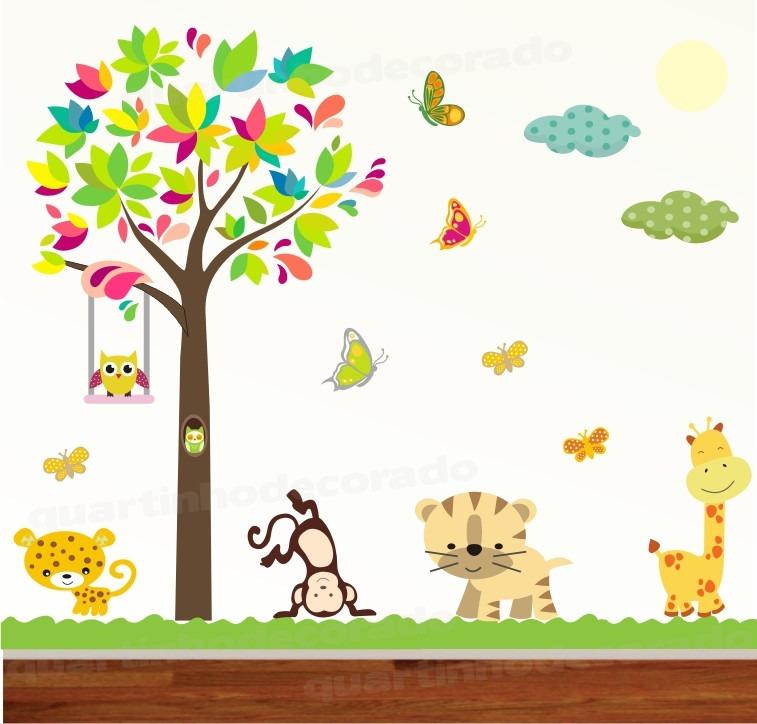 Armario Ikea Pax Roble ~ Adesivo Papel Parede Quarto Infantil Girafa Bebe Zoo 2,40m R$ 148,00 em Mercado Livre