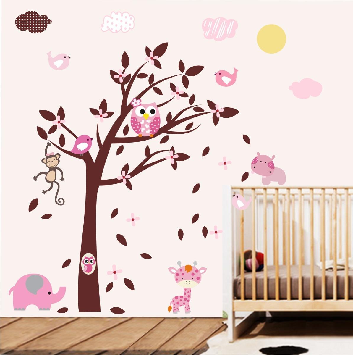 Adesivo papel parede quarto infantil menina safari zoo m97 - Dibujos para paredes infantiles ...