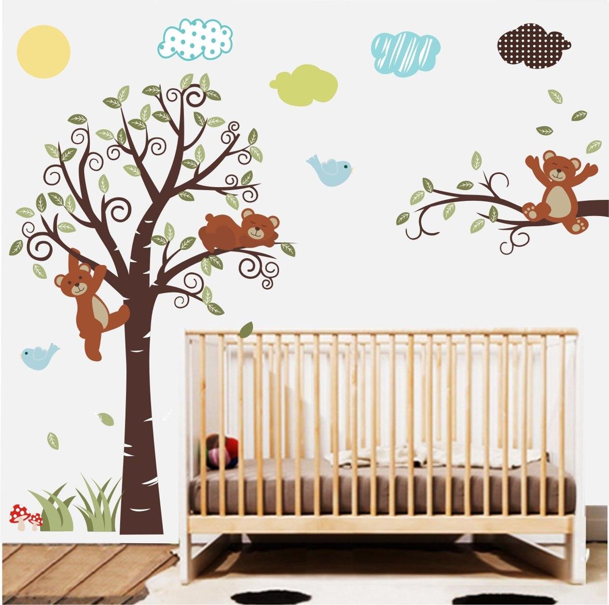 Adesivo papel parede quarto infantil ursinho arvore zoo for Papel decorativo pared infantil