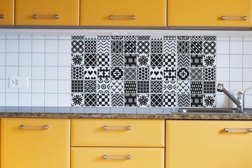 adesivo para azulejo - preto e branco - mudo minha casa
