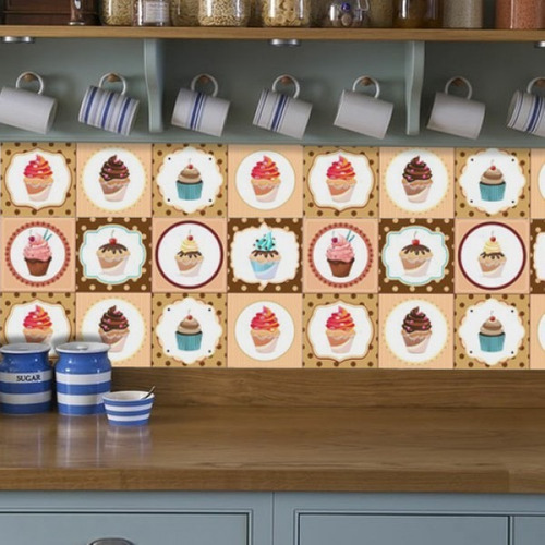 Adesivo De Parede Para Cozinha Mercado Livre ~ Adesivo Para Cozinha Azulejo Cupcakes R$ 64,90 em Mercado Livre