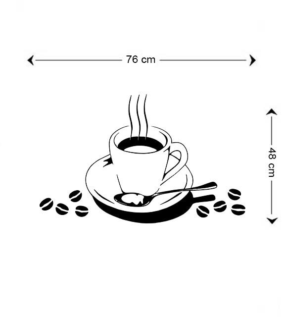 Adesivo Para Cozinha Xicara Com Graos De Cafe R 24 50 Em