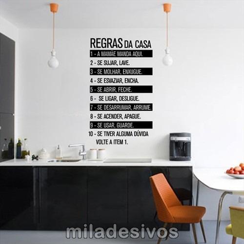 adesivo para decoração de paredes frases com regras da casa