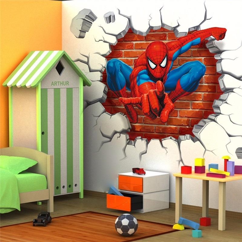 Adesivo para parede em 3d homem aranha papel de parede for Papel mural para dormitorio bebe