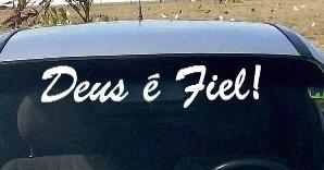 adesivo parabrisa carro deus é fiel tuning jesus religosos