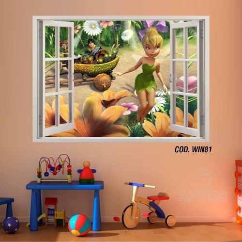 adesivo parede 3d janela fada tinker bell sininho(cod.win81)