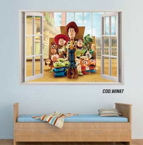 adesivo parede 3d janela toy story woody buzz (cod.win87)