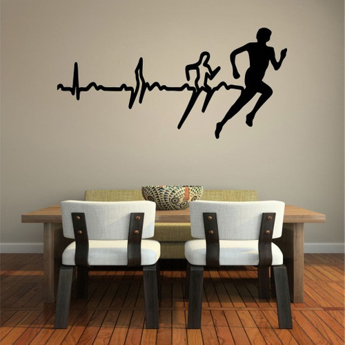 adesivo parede academia corrida caminhada saúde a061 200cm
