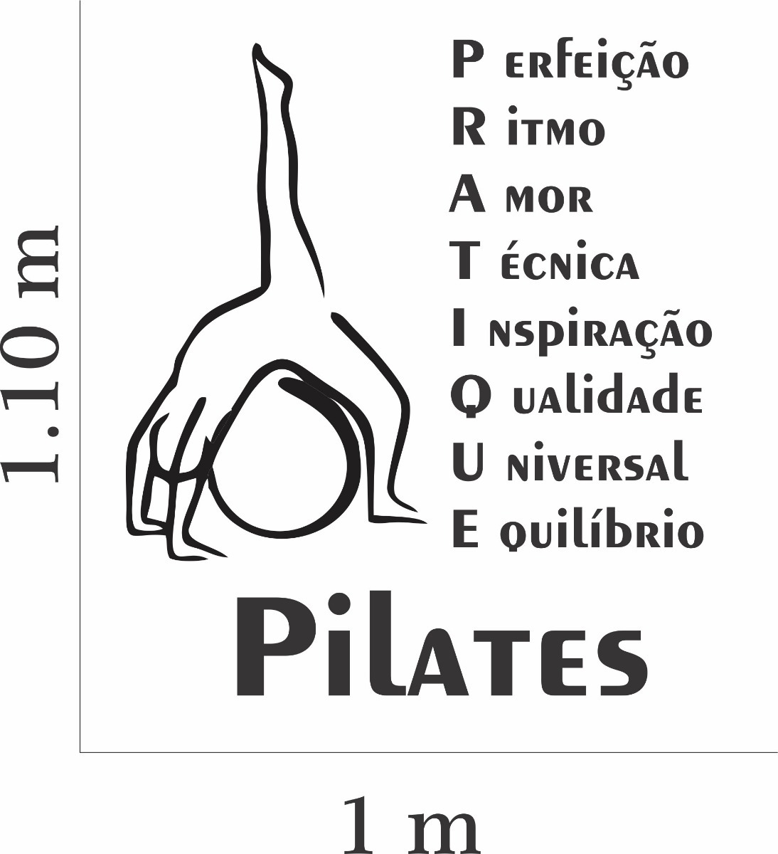 Adesivo Parede Academia Estúdio Pilates Frase Pratique