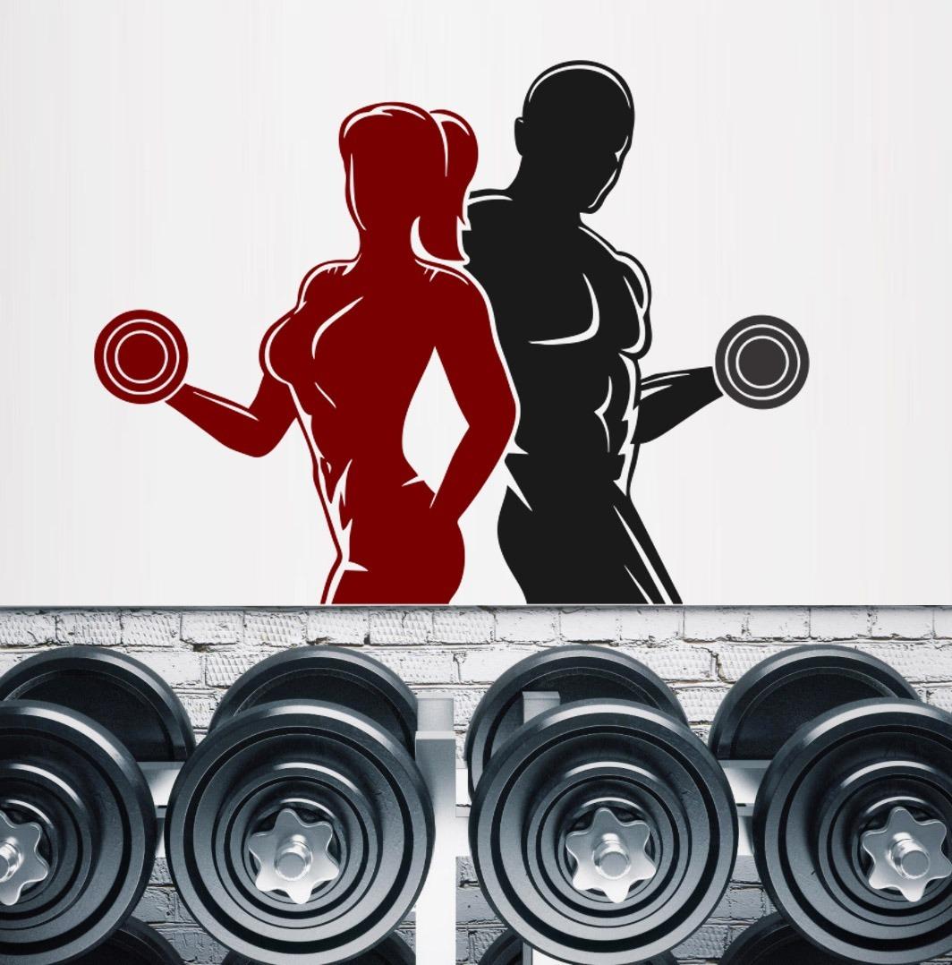 Adesivo Parede Academia Fitness Crossfit Homem Mulher Halter R