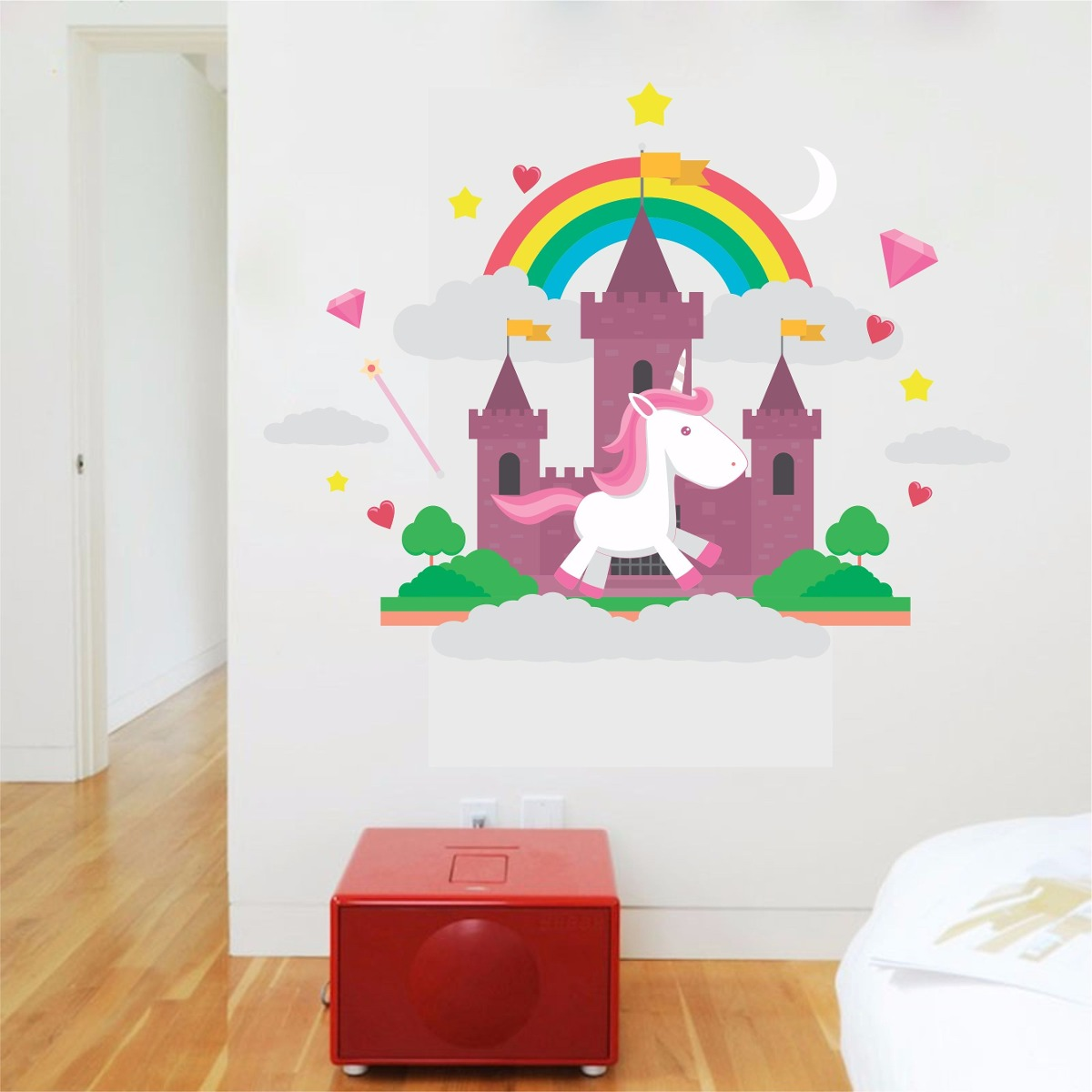 Adesivo De Parede Arvore Infantil ~ Adesivo Parede Animais Quarto Infantil Castelo Unicórnio R$ 49,99 em Mercado Livre