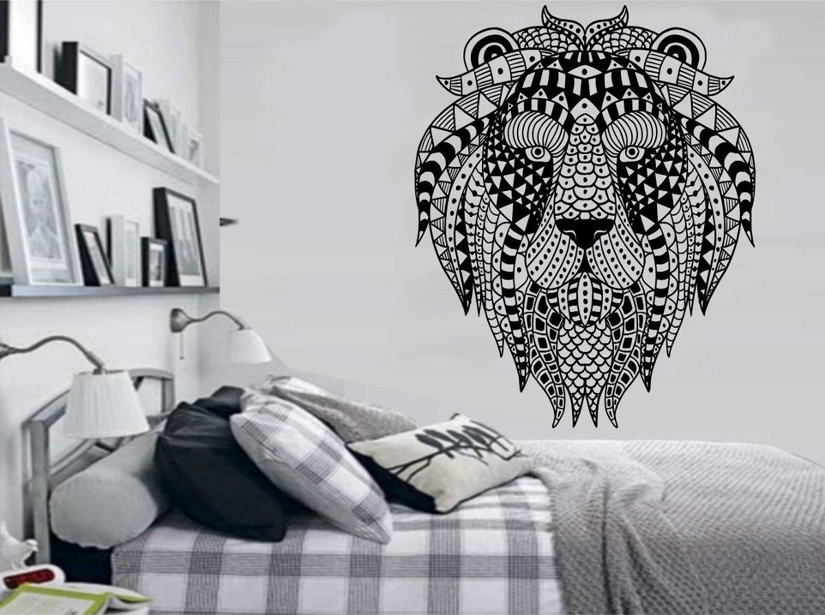 Artesanato Açoriano Florianopolis ~ Adesivo Parede Animal Rosto Le u00e3o Tigre Tribal Brindesi9