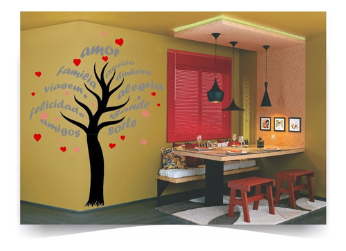 adesivo parede arvore gigante 2 metros frases coração amor