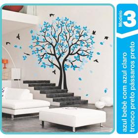 Adesivo Parede Árvore Pássaro Galho 2,40x2m Azul Sala Quarto