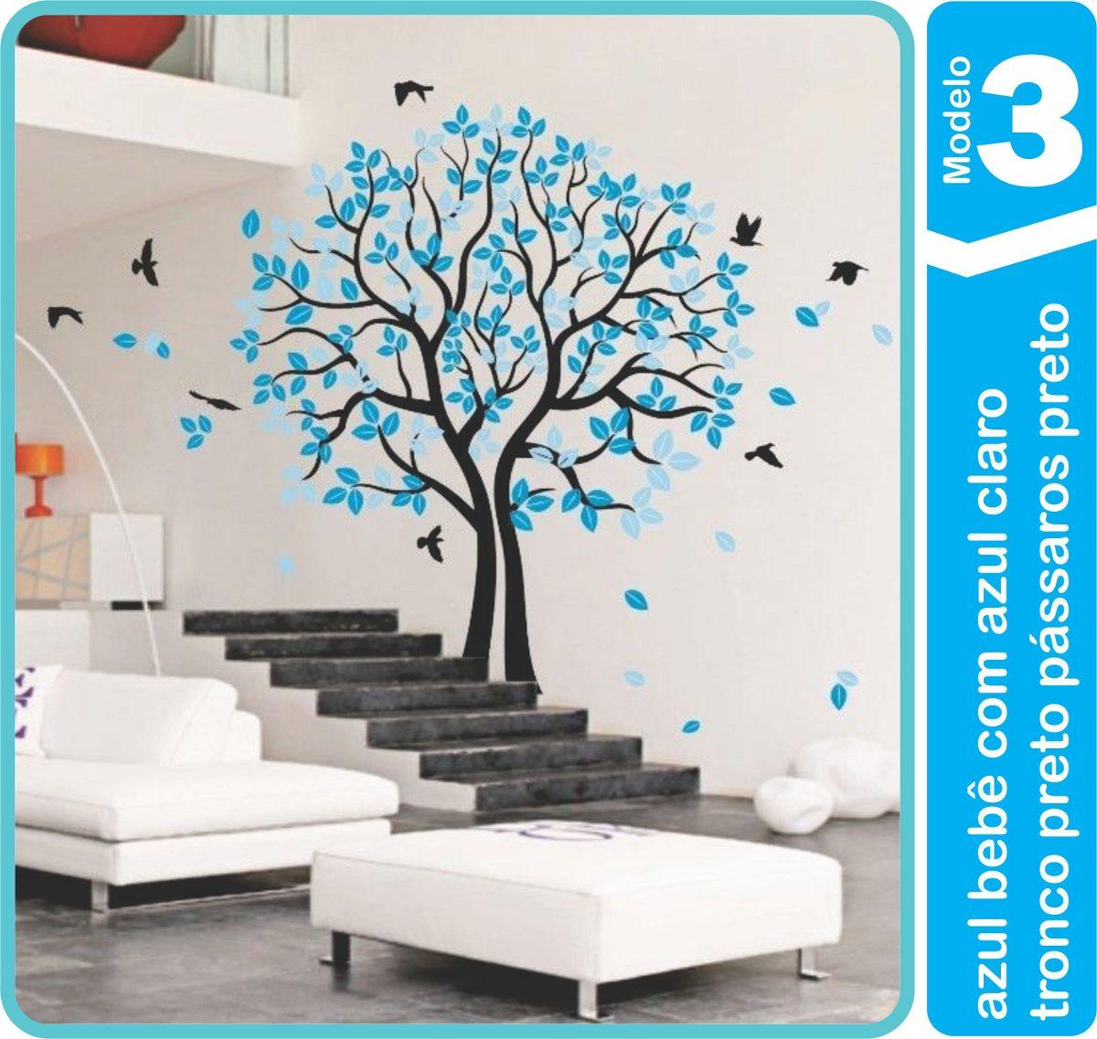 e9e8dfaa8 Adesivo Parede Árvore Pássaros Galhos 2