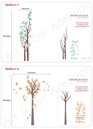 adesivo parede árvores grandes galhos pássaros floral folhas
