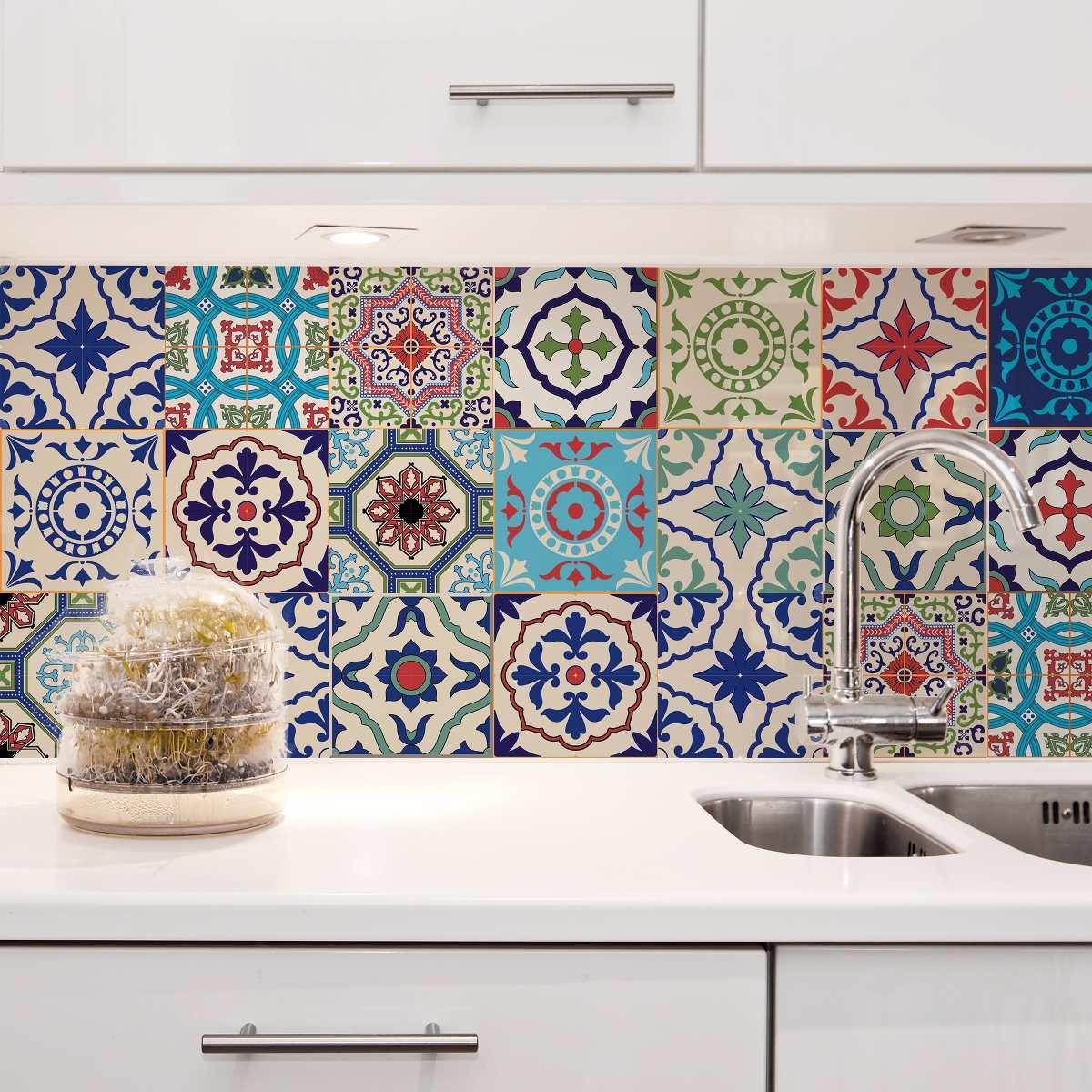 Adesivo parede decorativo 20x20 24un azulejo lav vel st - Aplicar microcemento sobre azulejos ...