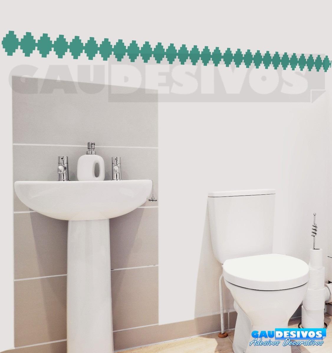 Adesivo De Banheiro Azulejo ~ Adesivo Decorativo De Parede Faixa Border Azulejo Banheiro R$ 9,99 em Mercado Livre