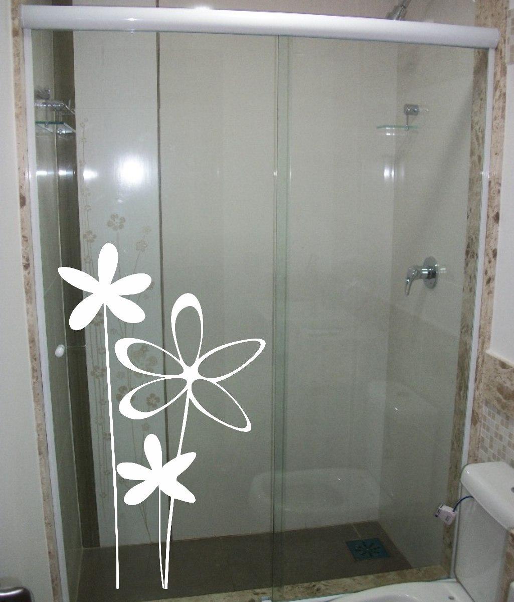 Adesivo Decorativo Parede Box Vidro Banheiro Flor Floral R$ 21 99 em  #3B3C31 1025x1200 Adesivos Para Box De Vidro Banheiro