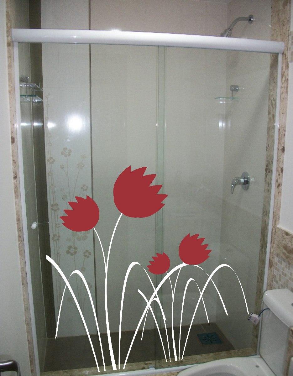 Adesivo Decorativo De Parede Box Vidro Banheiro Floral Flor R$ 29,99 em Mercado Livre
