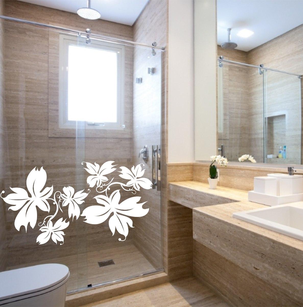 Adesivo De Olhos Para Artesanato ~ Adesivo Decorativo Parede Box Banheiro Floral Flor Rosa R$ 19,99 em Mercado Livre