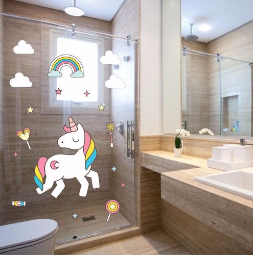 adesivo parede banheiro box infantil kit unicórnio nuvem