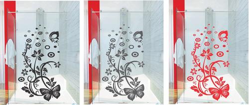 adesivo parede banheiro porta box floral borboleta bolha
