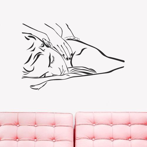 adesivo parede beleza massagem homem estética spa 100x65cm