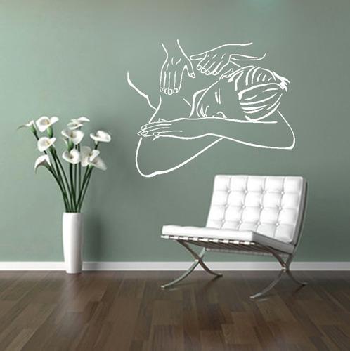 adesivo parede beleza massagem mulher estética spa 100x82