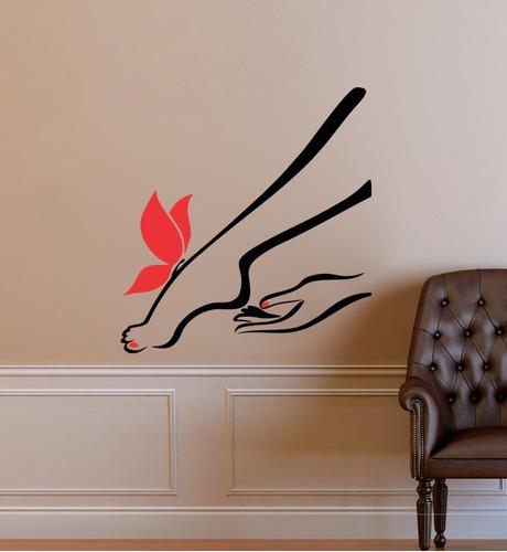 adesivo parede borboleta salão beleza pernas depilação 85x90