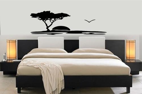 adesivo parede cabeceira 50x160 cm cama queen pôr do sol