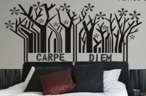 adesivo parede cabeceira cama casal carpe diem 65 x 160 cm