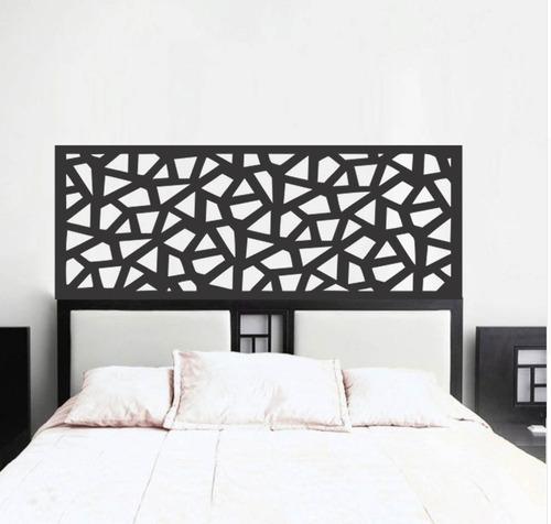 adesivo parede cabeceira cama quarto casal geométrica 55x140
