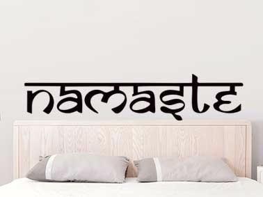 adesivo parede cabeceira cama quarto casal namastê 30x140 cm