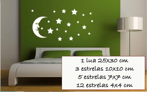 adesivo parede cabeceira lua estrelas quarto casal