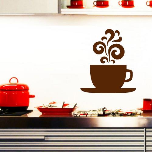 adesivo parede café cafezinho cozinha xícara 60x52cm