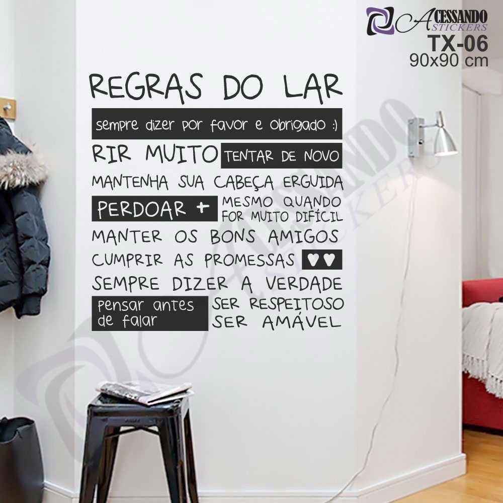Artesanato Com Tecido E Cola ~ Adesivo De Parede Regras Do Lar Frase Cozinha Ame Mais R$ 79,97 em Mercado Livre