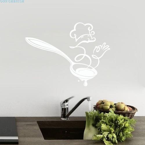 adesivo parede cozinha cozinheiro blanche colher 60x45 cm