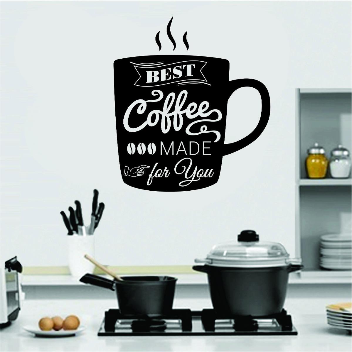 Aparador Azul Tifany ~ Adesivo Parede Cozinha Geladeira Xícara Café Frases Coffee R$ 29,99 em Mercado Livre