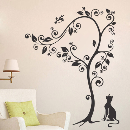 adesivo parede decorativo árvore galho gato pássaro 90x115cm
