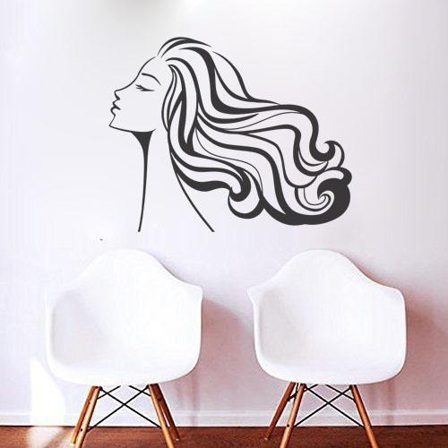 adesivo parede decorativo cabeleireiro salão mulher cabelo