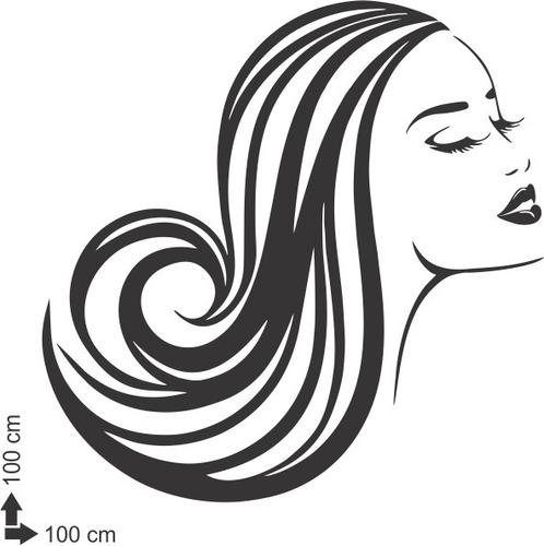adesivo parede decorativo cabelo salão mulher beleza 100x100