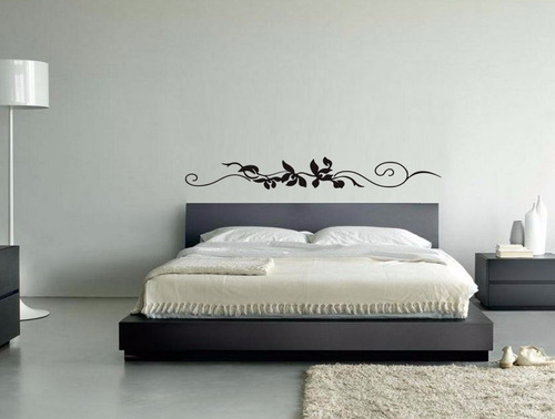 adesivo parede decorativo cama queen quarto casal flores